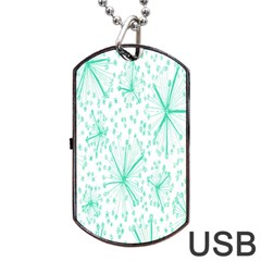 Pattern Floralgreen Dog Tag Usb Flash (two Sides) by Nexatart