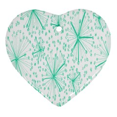 Pattern Floralgreen Heart Ornament (two Sides) by Nexatart