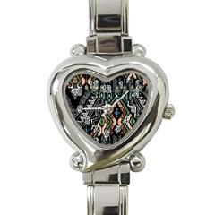 Ethnic Art Pattern Heart Italian Charm Watch by Nexatart