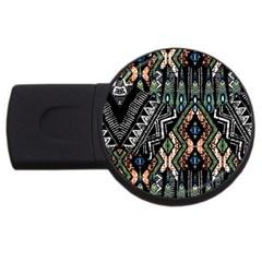 Ethnic Art Pattern Usb Flash Drive Round (4 Gb) by Nexatart