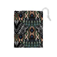 Ethnic Art Pattern Drawstring Pouches (Medium)  by Nexatart
