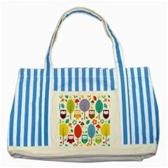 Cute Owl Striped Blue Tote Bag by Nexatart