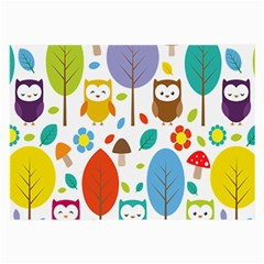 Cute Owl Large Glasses Cloth (2 Side) by Nexatart