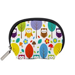 Cute Owl Accessory Pouches (small)  by Nexatart