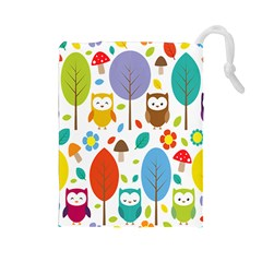Cute Owl Drawstring Pouches (large)  by Nexatart