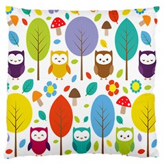 Cute Owl Large Flano Cushion Case (two Sides) by Nexatart