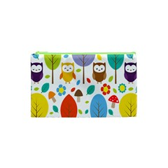 Cute Owl Cosmetic Bag (xs) by Nexatart