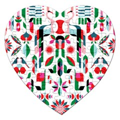 Abstract Peacock Jigsaw Puzzle (heart) by Nexatart