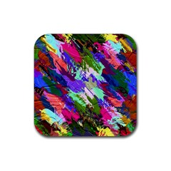 Tropical Jungle Print And Color Trends Rubber Square Coaster (4 Pack)  by Nexatart