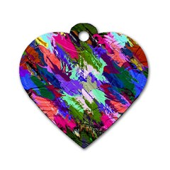 Tropical Jungle Print And Color Trends Dog Tag Heart (two Sides) by Nexatart
