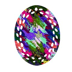 Tropical Jungle Print And Color Trends Oval Filigree Ornament (two Sides) by Nexatart