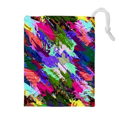 Tropical Jungle Print And Color Trends Drawstring Pouches (extra Large) by Nexatart