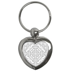 Mosaic Pattern Cyberscooty Museum Pattern Key Chains (heart)  by Nexatart