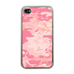 Pink Camo Print Apple Iphone 4 Case (clear)