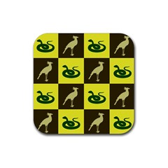 Bird And Snake Pattern Rubber Square Coaster (4 Pack)  by Nexatart