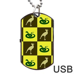 Bird And Snake Pattern Dog Tag Usb Flash (two Sides) by Nexatart
