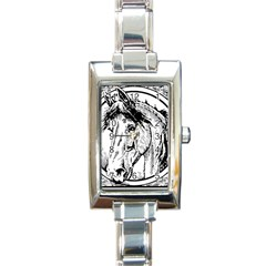 Framed Horse Rectangle Italian Charm Watch by Nexatart