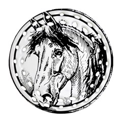 Framed Horse Round Filigree Ornament (two Sides) by Nexatart