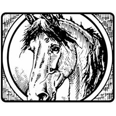 Framed Horse Double Sided Fleece Blanket (medium)  by Nexatart