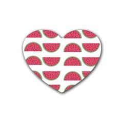 Watermelon Pattern Rubber Coaster (heart)  by Nexatart