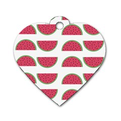 Watermelon Pattern Dog Tag Heart (two Sides) by Nexatart