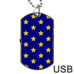 Star Pattern Dog Tag Usb Flash (two Sides) by Nexatart