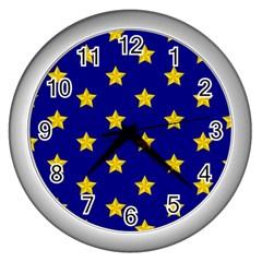 Star Pattern Wall Clocks (silver)  by Nexatart