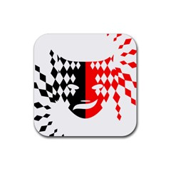Face Mask Red Black Plaid Triangle Wave Chevron Rubber Coaster (square)  by Mariart