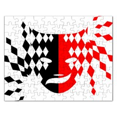 Face Mask Red Black Plaid Triangle Wave Chevron Rectangular Jigsaw Puzzl by Mariart