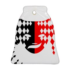 Face Mask Red Black Plaid Triangle Wave Chevron Bell Ornament (two Sides) by Mariart