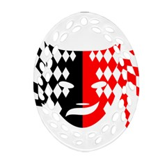 Face Mask Red Black Plaid Triangle Wave Chevron Oval Filigree Ornament (two Sides) by Mariart