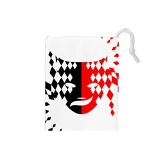 Face Mask Red Black Plaid Triangle Wave Chevron Drawstring Pouches (small)  by Mariart