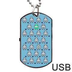 Funny Cow Pattern Dog Tag Usb Flash (two Sides) by Nexatart