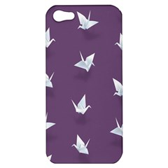 Goose Swan Animals Birl Origami Papper White Purple Apple Iphone 5 Hardshell Case by Mariart