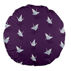 Goose Swan Animals Birl Origami Papper White Purple Large 18  Premium Flano Round Cushions by Mariart