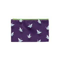 Goose Swan Animals Birl Origami Papper White Purple Cosmetic Bag (xs) by Mariart