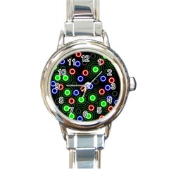 Neons Couleurs Circle Light Green Red Line Round Italian Charm Watch by Mariart