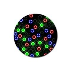 Neons Couleurs Circle Light Green Red Line Rubber Round Coaster (4 Pack)  by Mariart