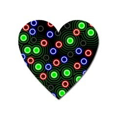 Neons Couleurs Circle Light Green Red Line Heart Magnet by Mariart