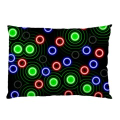 Neons Couleurs Circle Light Green Red Line Pillow Case by Mariart