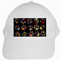 Colorful Paw Prints Pattern Background Reinvigorated White Cap by Nexatart