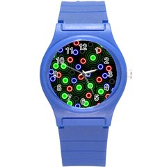 Neons Couleurs Circle Light Green Red Line Round Plastic Sport Watch (s) by Mariart