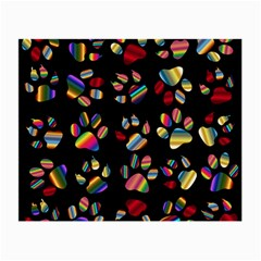 Colorful Paw Prints Pattern Background Reinvigorated Small Glasses Cloth by Nexatart