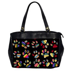 Colorful Paw Prints Pattern Background Reinvigorated Office Handbags (2 Sides)  by Nexatart