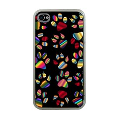 Colorful Paw Prints Pattern Background Reinvigorated Apple Iphone 4 Case (clear) by Nexatart