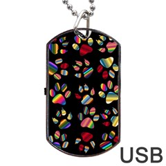 Colorful Paw Prints Pattern Background Reinvigorated Dog Tag Usb Flash (two Sides) by Nexatart