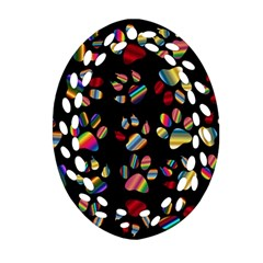Colorful Paw Prints Pattern Background Reinvigorated Ornament (oval Filigree) by Nexatart