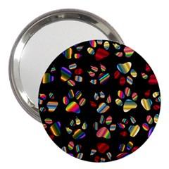 Colorful Paw Prints Pattern Background Reinvigorated 3  Handbag Mirrors by Nexatart