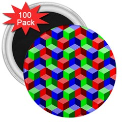 Seamless Rgb Isometric Cubes Pattern 3  Magnets (100 Pack) by Nexatart