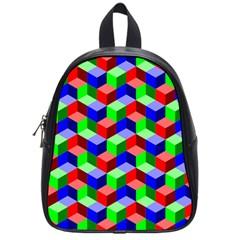 Seamless Rgb Isometric Cubes Pattern School Bags (small)  by Nexatart